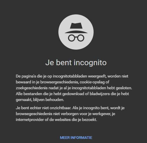 hoge google ranking-incognitovenster