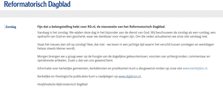 Het Reformatorisch Dagblad (rd.nl) is op zondag gesloten